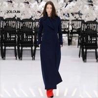 Autumn Women Fashion Runway Coat Lapel Cashmere Wool Coat Blend Trench Outwear Jacket Manteaux Femme Hiver Manteau Long Femme