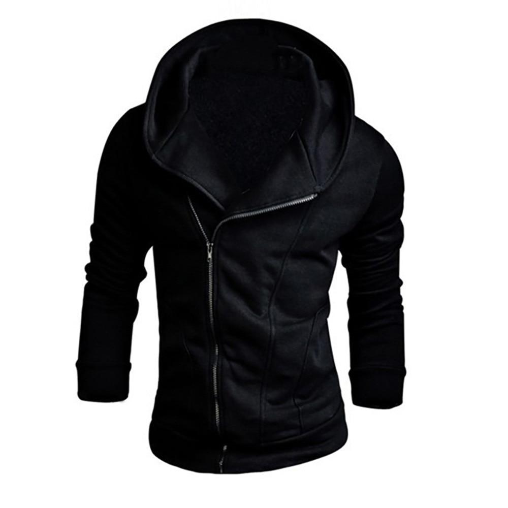 Men Hoodies Autumn Sweatshirts Long Sleeve Solid Hoodie Zipper Black Big Size