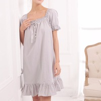 Short Sleeve Cotton Loose Sweet Pajama Night Dress Sleeveless V Neck Nightgown Lace Sleepwear For Women