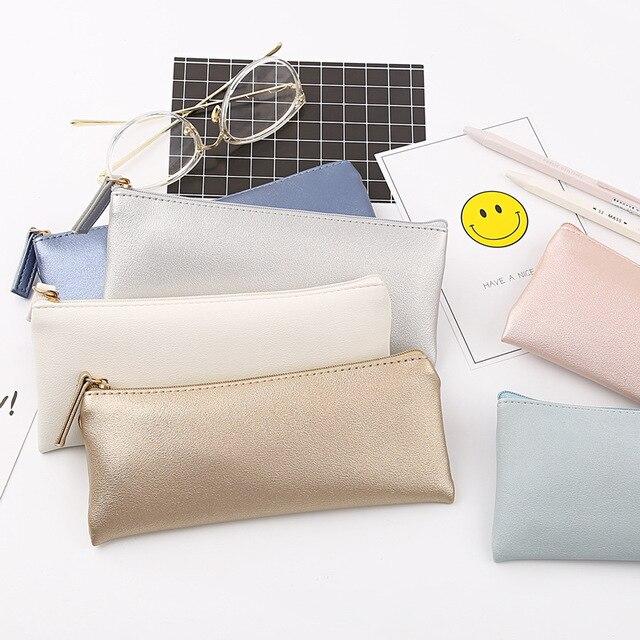 Super recomendado Simples preto de prata de ouro rosa de couro Caixa de Lápis saco de Armazenamento Caixa de Lápis Material Escolar Papelaria Presente