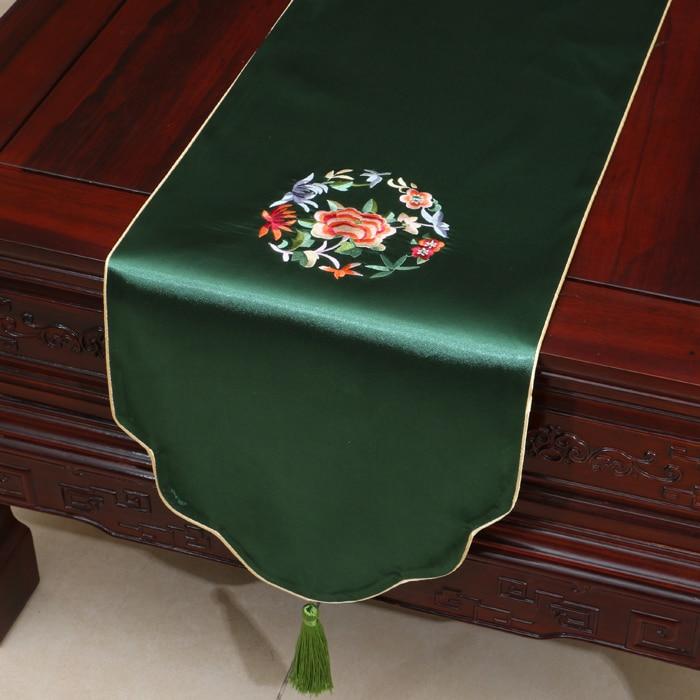 중국어 자수 식탁보 러너 크리스마스 테이블 매트 고급 다 차 테이블 천으로 꽃 직사각형 커피 패드