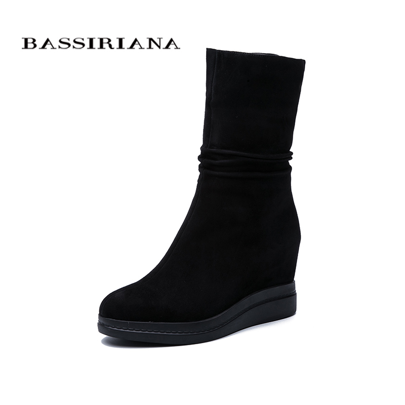 BASSIRIANA 2019 Autumn And Winter New Women's Booties With Wool Suede Plus Size Free Shipping
