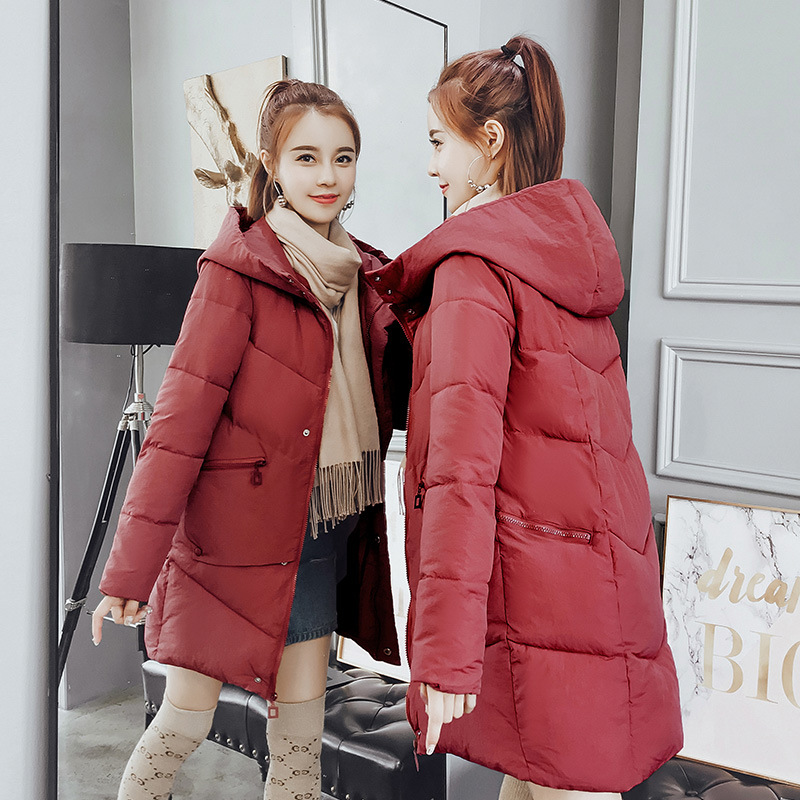 Concise geometric stripe decoration down jacket for women winter fashion new Korean version loose wild thick student cotton coat in Parkas from Women 39 s Clothing