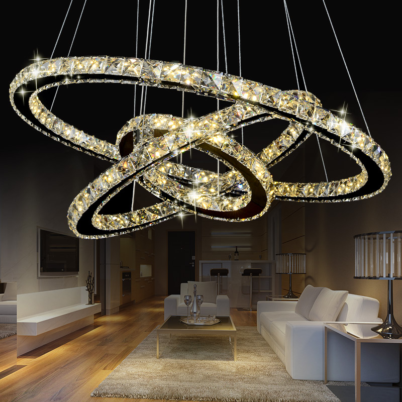 modern crystal pendant lightS1 2 3 rings for living dining room kitchen Circles Suspension pendant lights