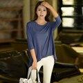 Verão Novo Estilo Plus Size Bat Camisa Batwing Mulheres de Morcego feminino Modal Casual Solto Médio E Longo T-shirt Queda Parte Superior Do Ombro Tee