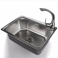 304 Stainless Steel Single Bowl Kitchen Sink Scrub 53 38 19cm With Stainless Steel Strainer Optional