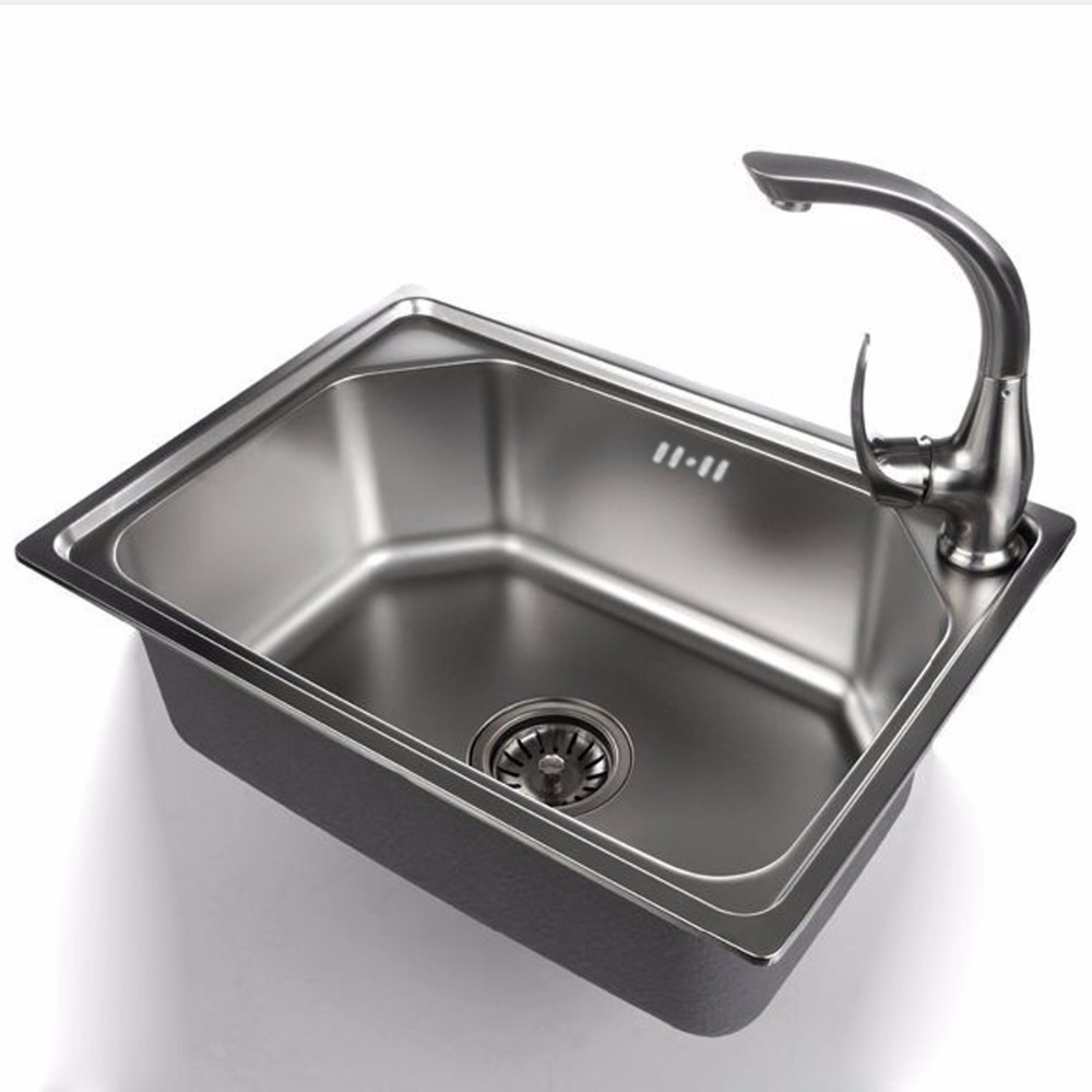520 380 190mm 304 stainless steel single bowl kitchen for Colored stainless steel sinks