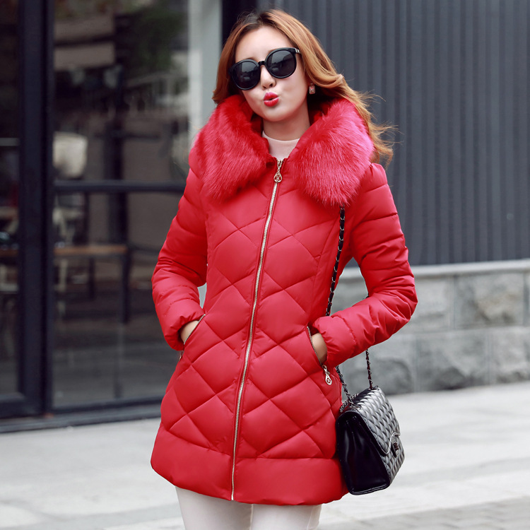 High Quality 2016 Fashion Women's Slim Parka Winter Jacket Female Long Coat Fur Hoody Thick Down Jacket Outwear M-3XL 4 Colors  high quality womens coats winter fashion women parka winter jacket female long white duck down parkas coat thick hoody coat