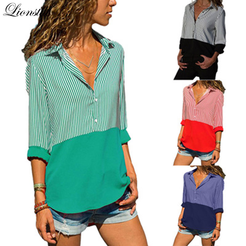 lionstill New 2018 autumn Blouse Women Shirt Fashion Casual Plus Size Long Sleeve Blouses female stripe splice Shirts Women Top