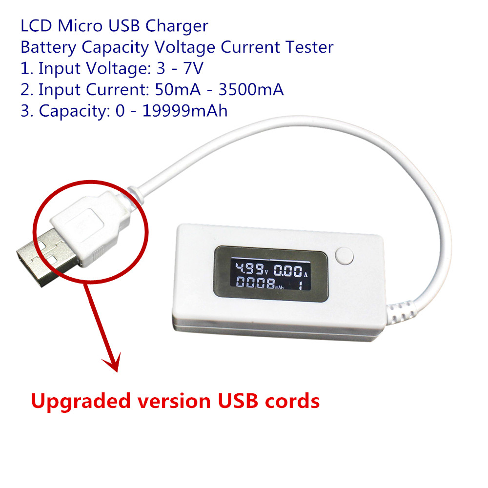 Upgraded Version LCD Micro USB Charger Battery Capacity Voltage Current Tester Meter Detector for Smartphone Mobile Power Bank high quality keweisi 3v to 9v 0a to 3a usb charger power battery capacity tester voltage current meter