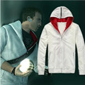 Assassin's Creed 2 Desmond Miles Cosplay Costume White Black Hoodie Coat Sewing Eagle Logo Unisex Warm Hooded Jacket  CS176130