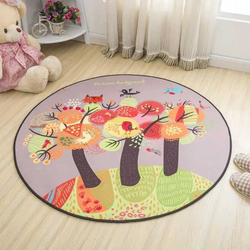 tapis rond de style simple pour enfants accessoire de chevet pour chambre a coucher pour bebe pour le couloir joli tapis de sol