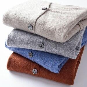 Image 2 - 2018 kobiet Cardigans 100% czystego kaszmiru swetry dziergane gorąca sprzedaż Vneck długi koreański styl topy kobieta standardowe topy dziewczyna swetry