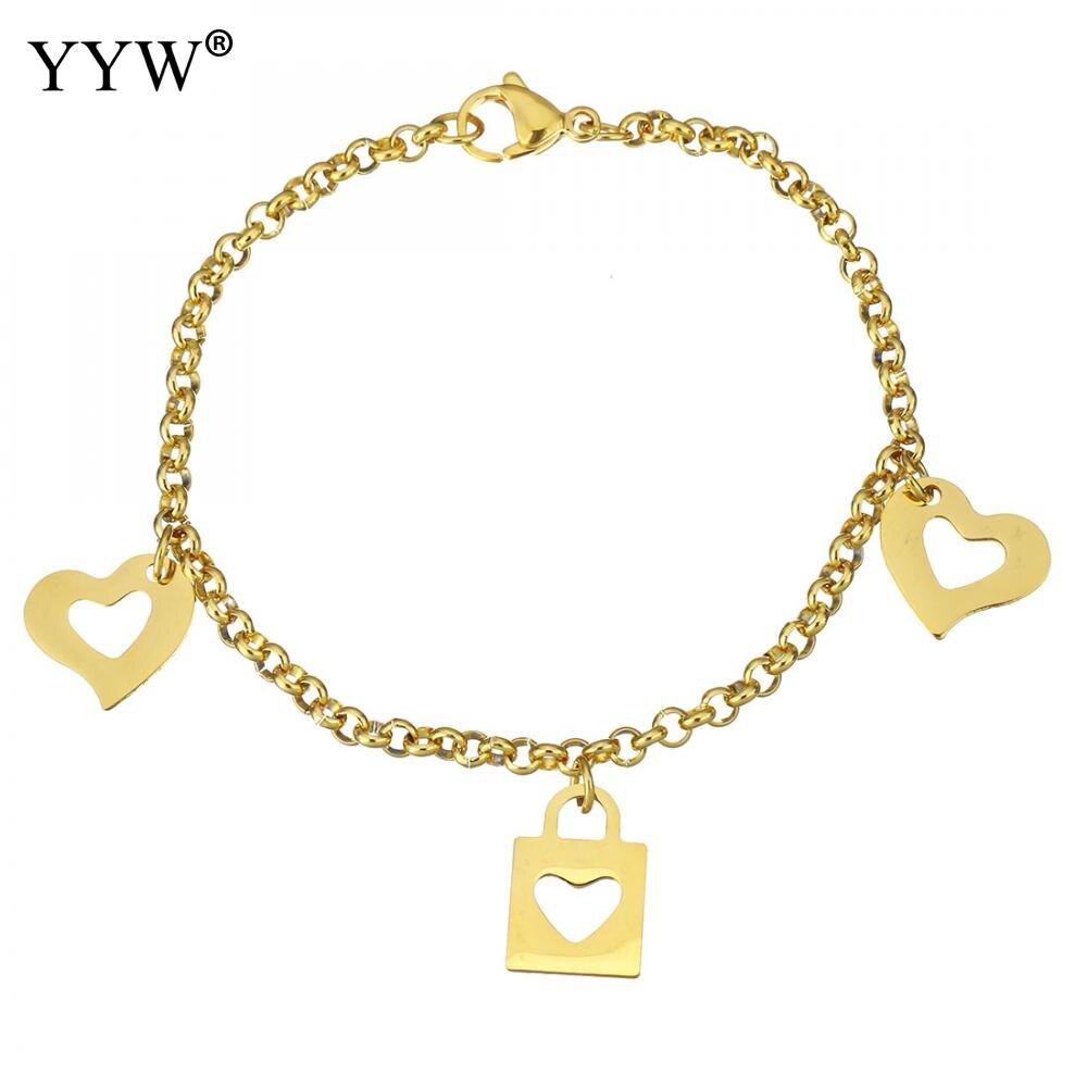 Yyw Heart Amp Lock Logo Charm Stainless Steel Bracelet Oval