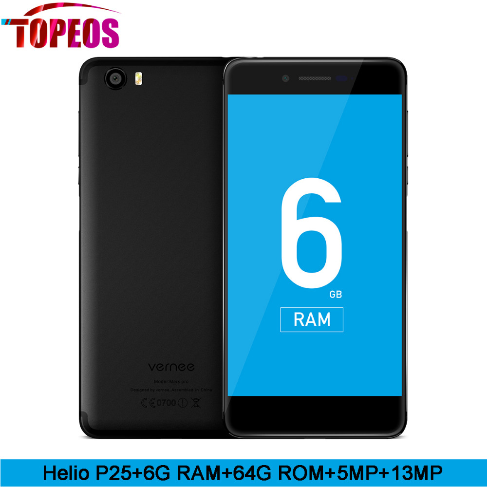 Vernee Mars Pro Helio P25 Octa core 6G RAM 64G ROM LTE Android 7.0 Mobile Phone 13.0MP 5.5'' Cell Phone Fingerprint Smartphone