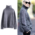 [CHICEVER] 2017 Spring Long Sleeve High Collar Big Size Pullovers Knitting Casual Women Sweater New Fashion Clothing