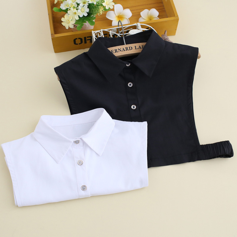 Korean Cotton Brocade Black And White Shirt Women Fake Collar Lady Shirt False Detachable Collar
