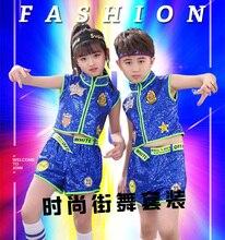 HAIJINMINGWEN childrens sequins modern jazz costume hand-embellished bright hip hop hip-hop performance set