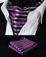 RS201P 퍼플 그레이 스트라이프 실크 넥타이 짠 에스코트 넥타이 포켓 스