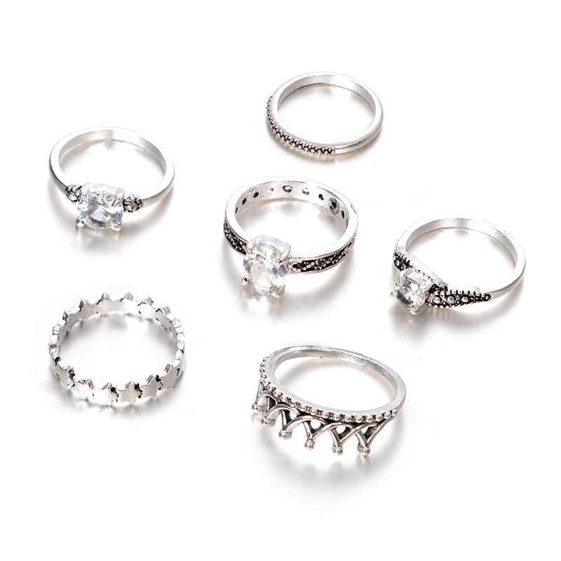 2018พังก์โบฮีเมียชาติพันธุ์มงกุฎดาวข้ามชุดแหวนคริสตัล, 6ชิ้นแหวนBohoหญิงเสน่ห์เครื่องประดับแหวนไม้สำหรับผู้หญิง