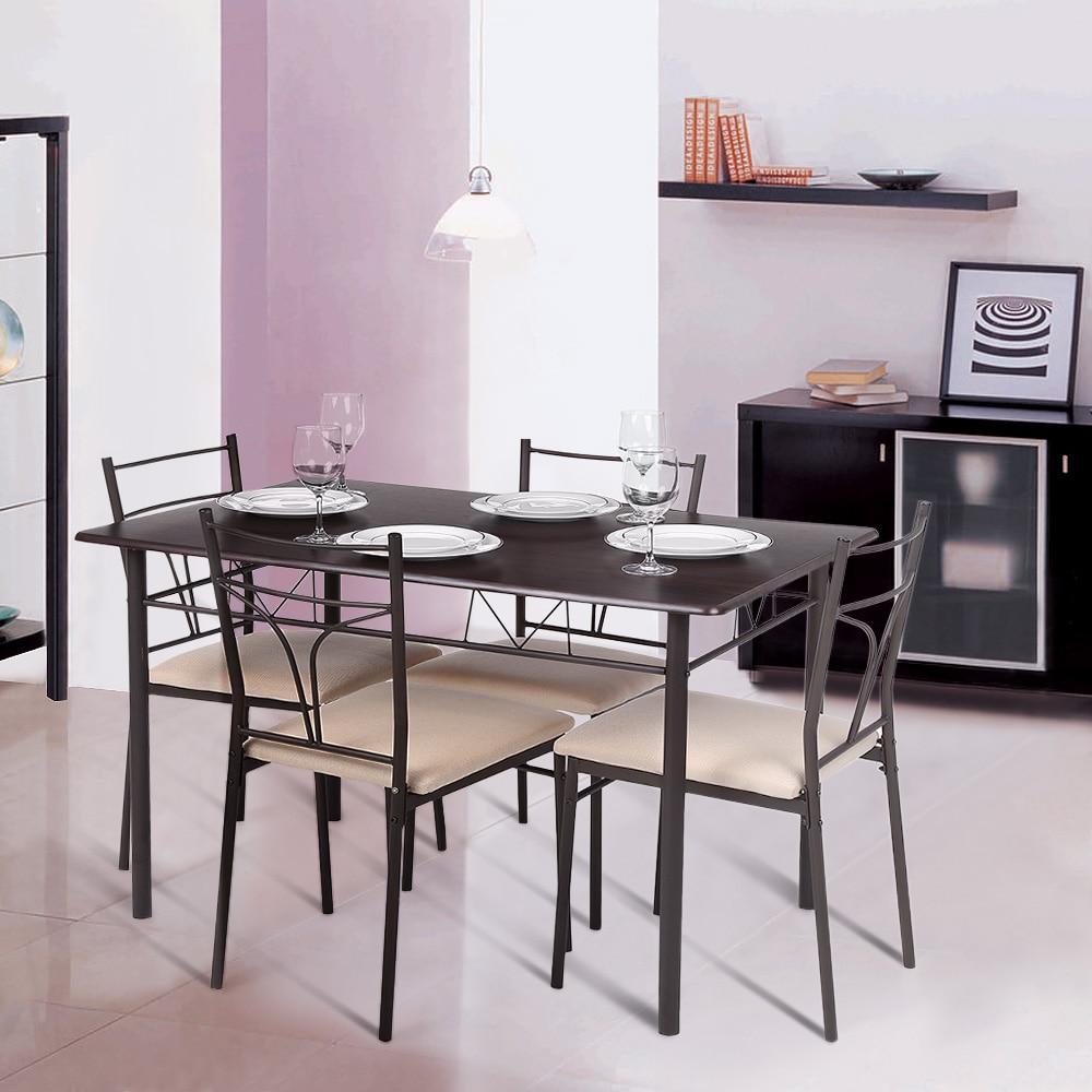 iKayaa 5PCS Modern Metal Frame Dining font b Kitchen b font font b Table b font