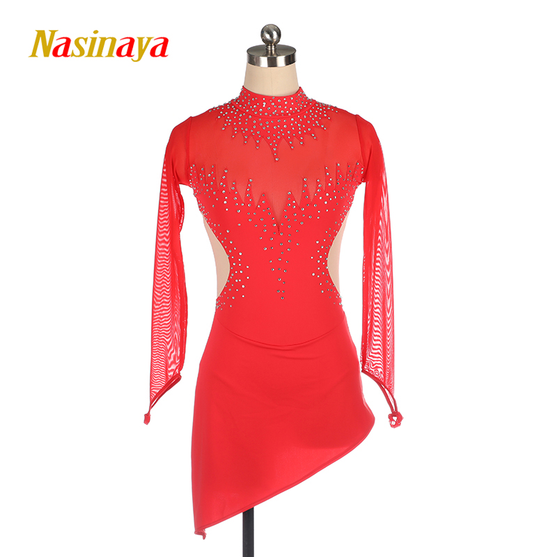14 Colors Nasinaya Figure Skating Dress Customized Competition Ice Skirt for Girl Women Kids Performance Red