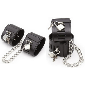 Sex Handcuffs With Locks PU Leather Handcuffs Ankle Cuffs BDSM Bondage Restraints Sex Toys Women Exotic Lingerie Accessories 1