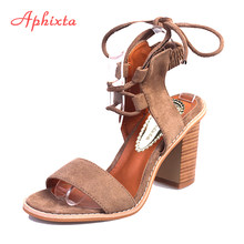 Aphixta Summer Sandals Women 2018 Super High Heel Cross-tied Sexy Woman Sandals Elastic Band Lace-Up Camel Female Shoes Womens(China)
