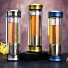 2017 New Style Glass Water Bottle With Loose Leaf Tea Strainer Infuser Double-deck Free to disassemble