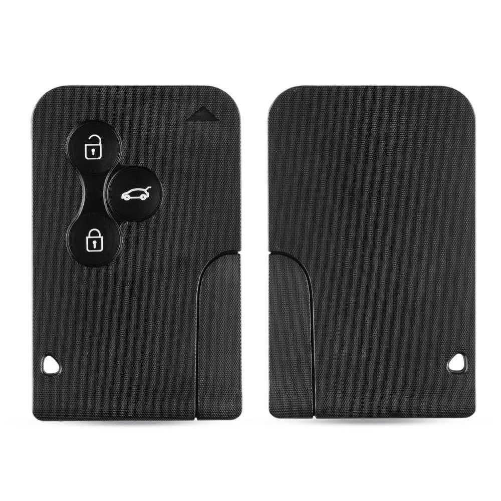 Keyyou 3 botão de cartão inteligente para renault clio logan megane 2 3 koleos caso de cartão cénico carro preto chave fob escudo com pequena chave