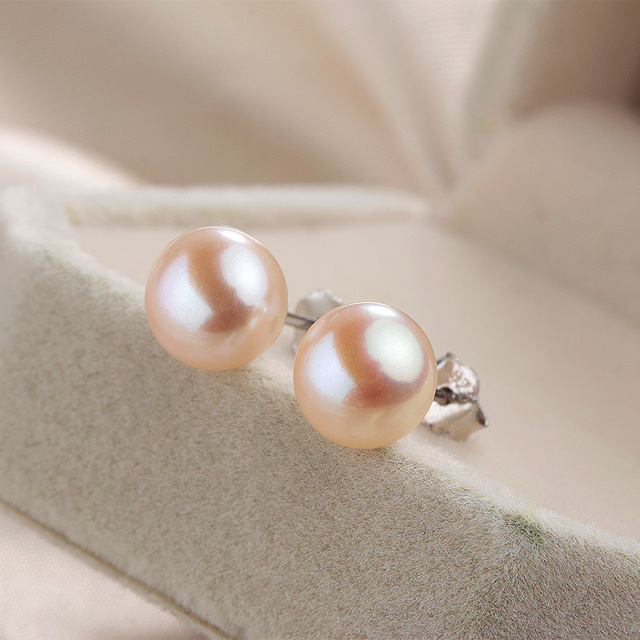 High Luster 100% Genuine Freshwater Pearl Stud Earrings For Women 925 Sterling Silver Real Small Black Natural Pearl Jewelry