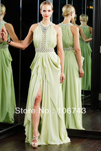 free shipping 2014 new fashion bride vestido robe de soiree slit style crystal Formal Elegant long party gown Graduation Dresses
