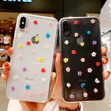 Fashion Transparent Dried Flower Phone Case For iPhone X Xs Max XR 8 7 Simple Soft Cover 6 6S Plus Bag Coque