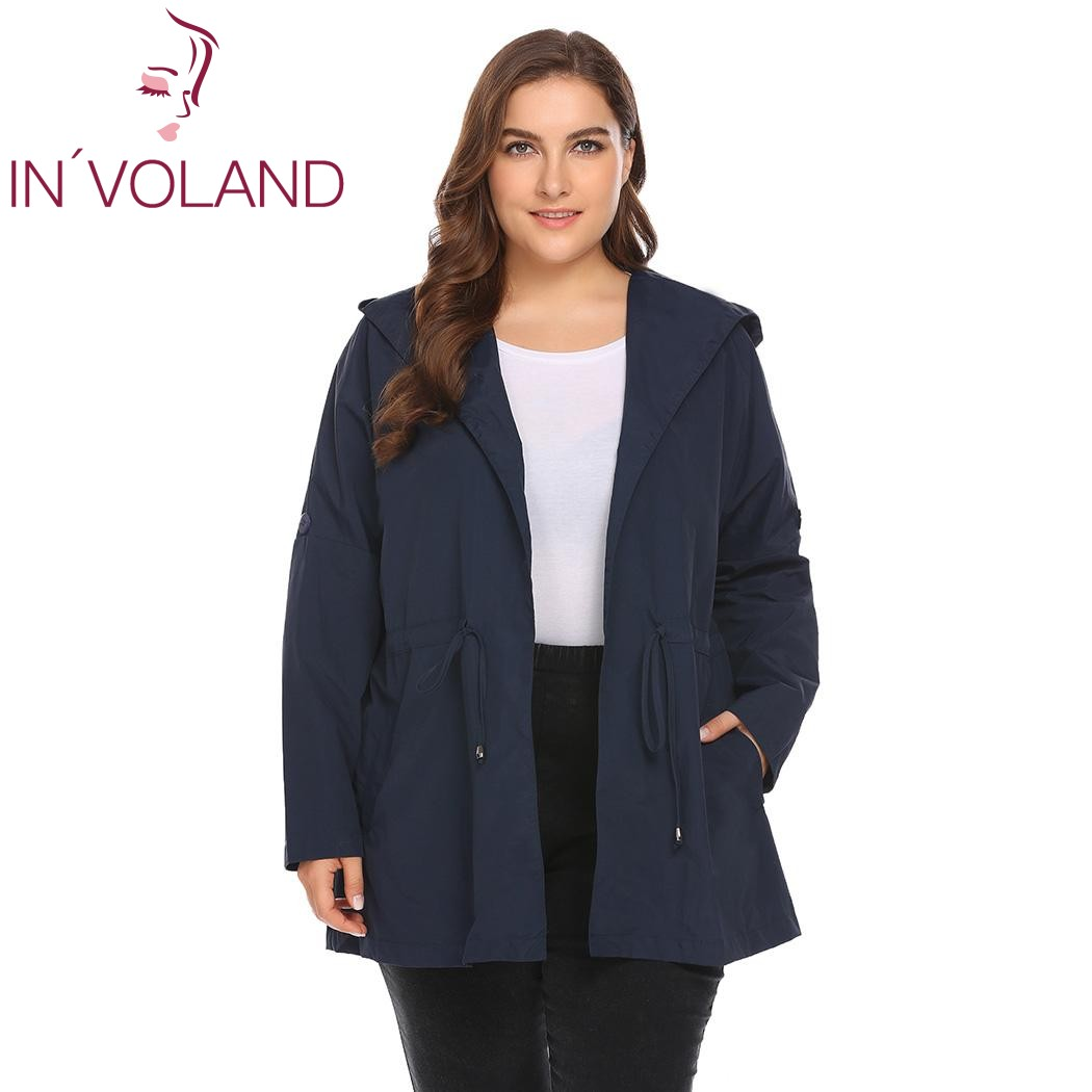 IN'VOLAND Women Windbreaker Coat Large Size L-4XL Raincoat Wrap Hooded Long Sleeve Slim Waterproof Lightweight Female Outwears