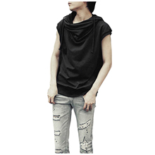 Men Pullover Cowl Neck Short Sleeve Drawstring Hoodie Hooded T-Shirts drawstring tunic hoodie