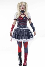 Free Shipping Batman Arkham Harley Quinn Helloween Carnival Cosplay Costumes Outfit Party Dress Dark Knight Suit