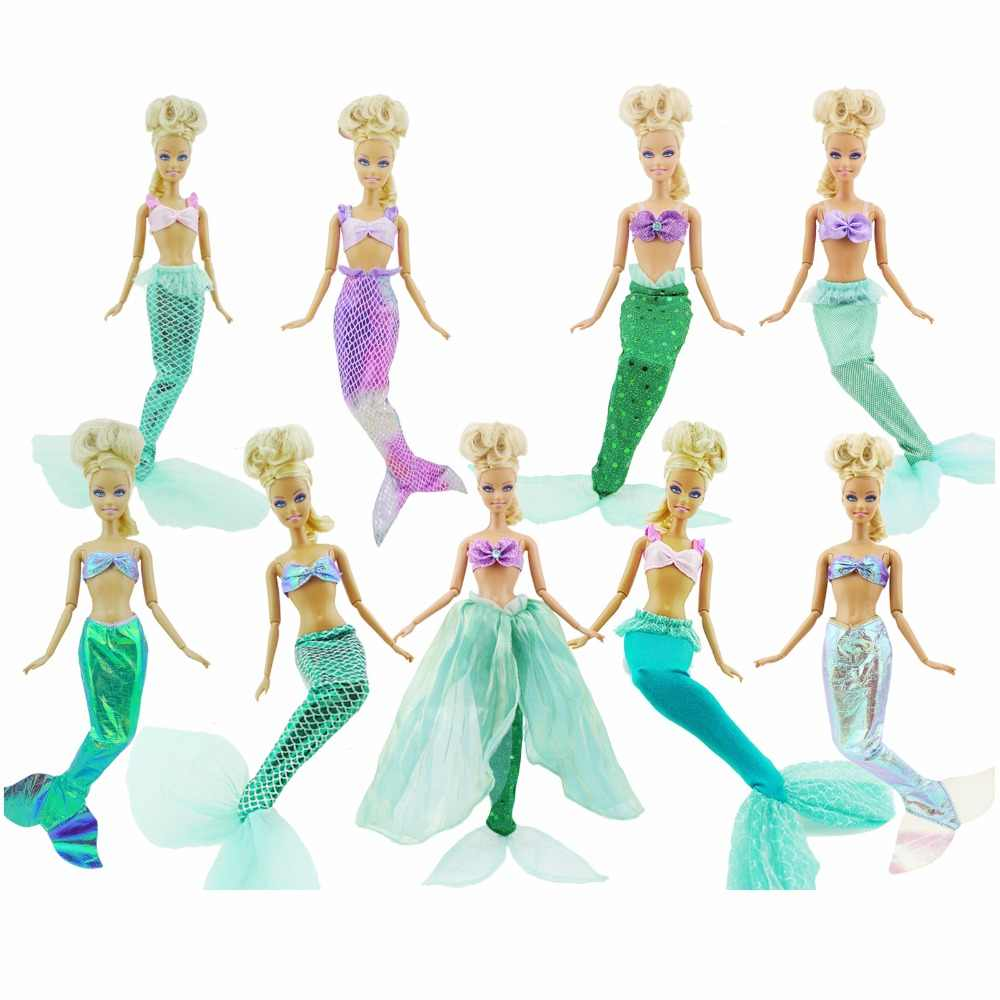 Doll Accessories Fairy Tale Mermaid Outfit Copy Ariel Princess Tops Fishtail Dress Party Ball Gown Clothes for Barbie Doll Toy