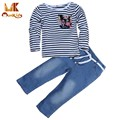 Monkids Baby Suits Girls Jeans T-shirt 2016 Baby Girl Clothing Sets Costumes Striped Flower Kids Clothes Clothing Sets 2 Pieces