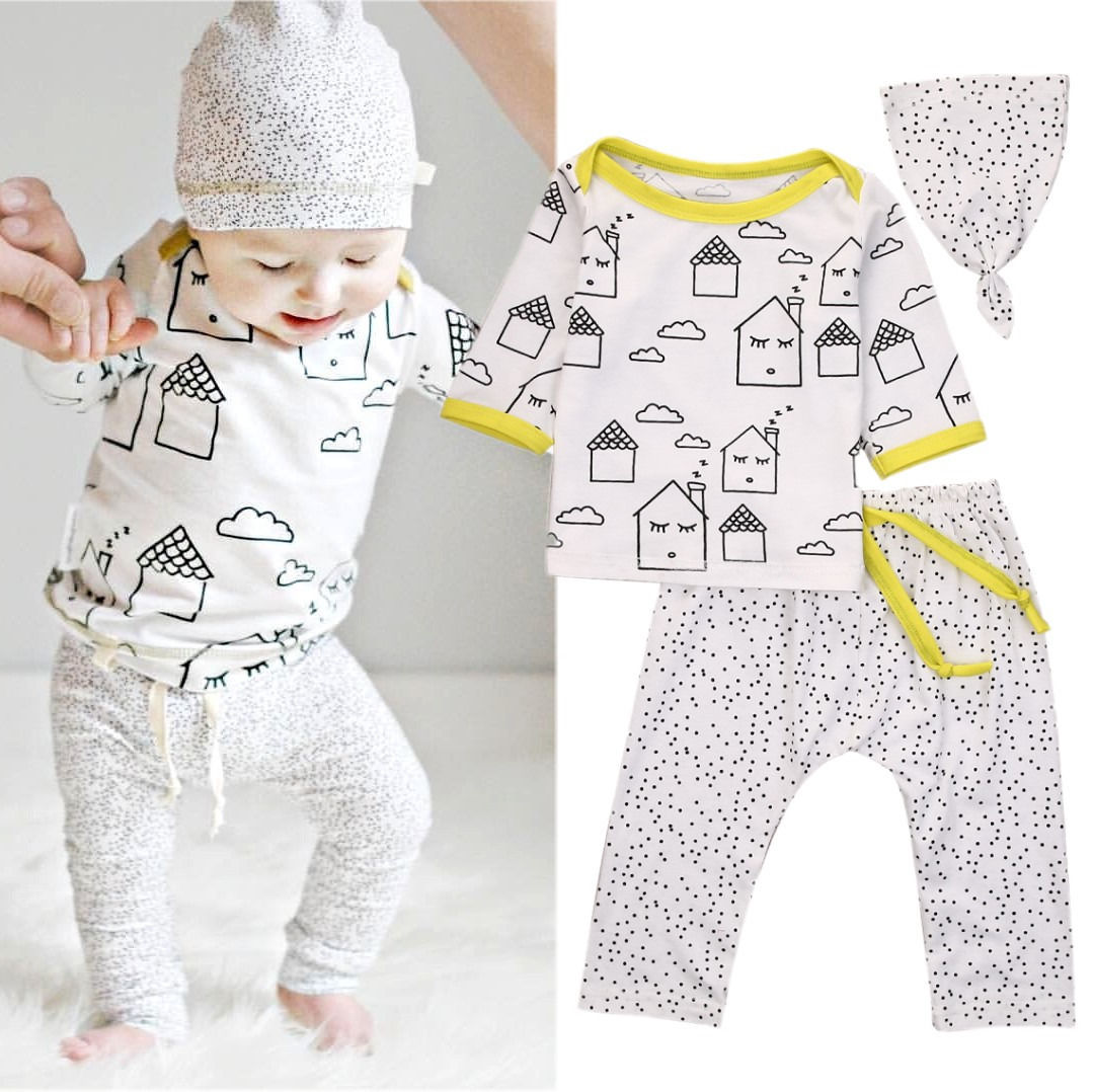 Organic Baby Boys Girls T-shirt Tops Pants Leggings Hat Outfits Clothes 3Pcs Set econscious organic cotton twill corps hat ec7010