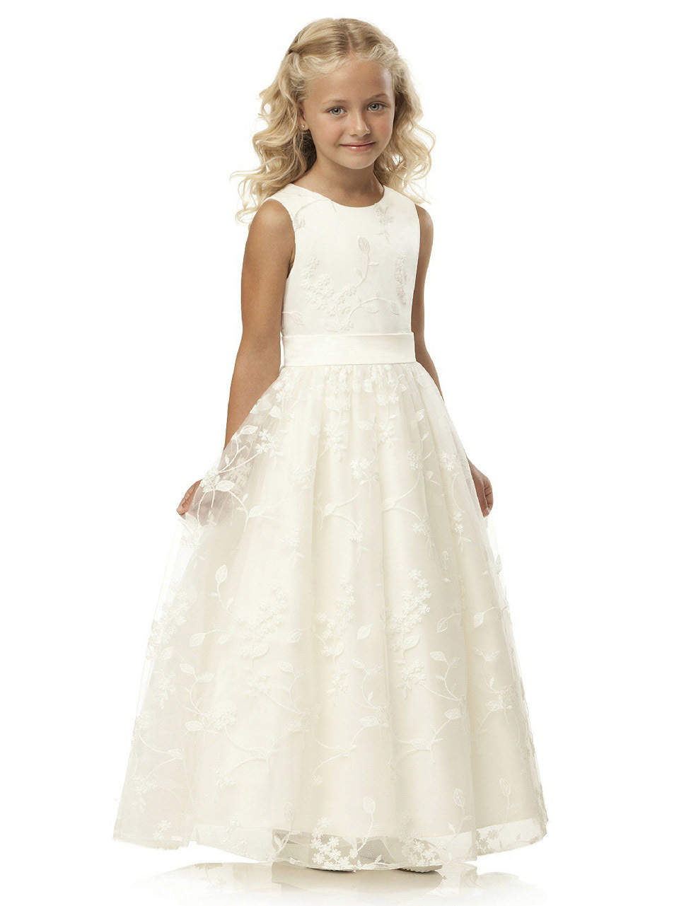2017 fashion lace first communion   dress   vintage a-line scoop neckline long noble ivory lace   flower     girl     dresses