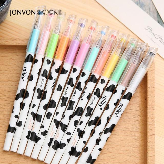 Jonvon Satone Creative Stationery Milky Cow 12 Color Diamond Pen Gel Korean Cartoon Stationery Wholesale Kawaii School Supplies