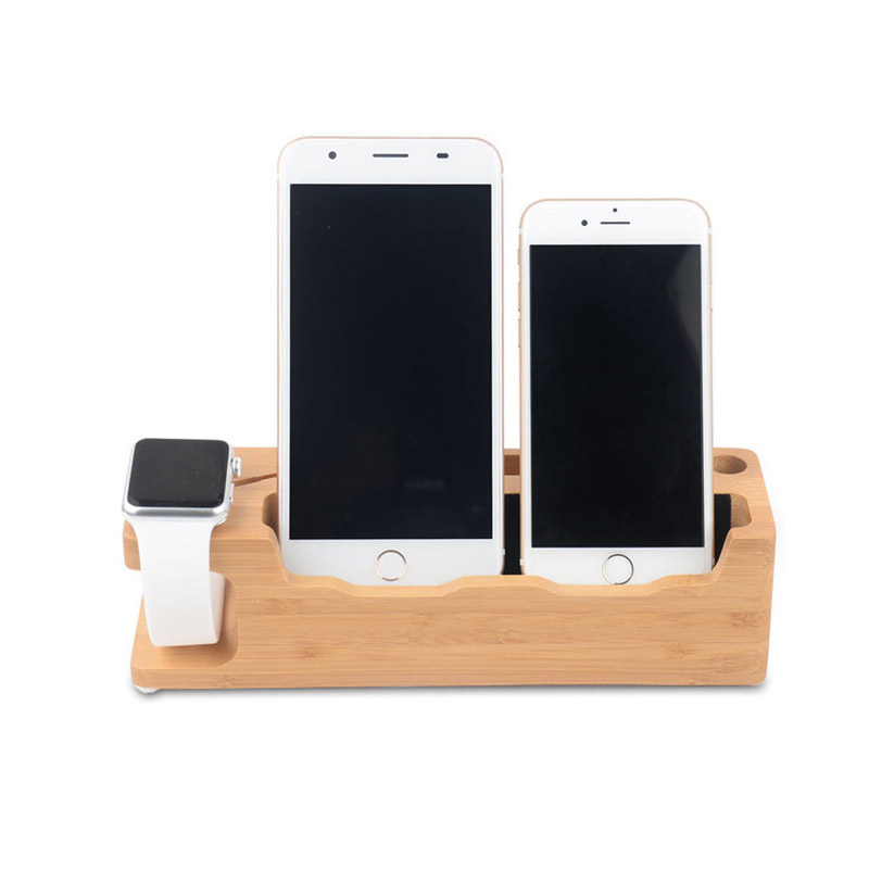 Wood Charging Dock Charger Station Desk Stand Holder for Apple Watch 38 42mm iPhone 7 Plus