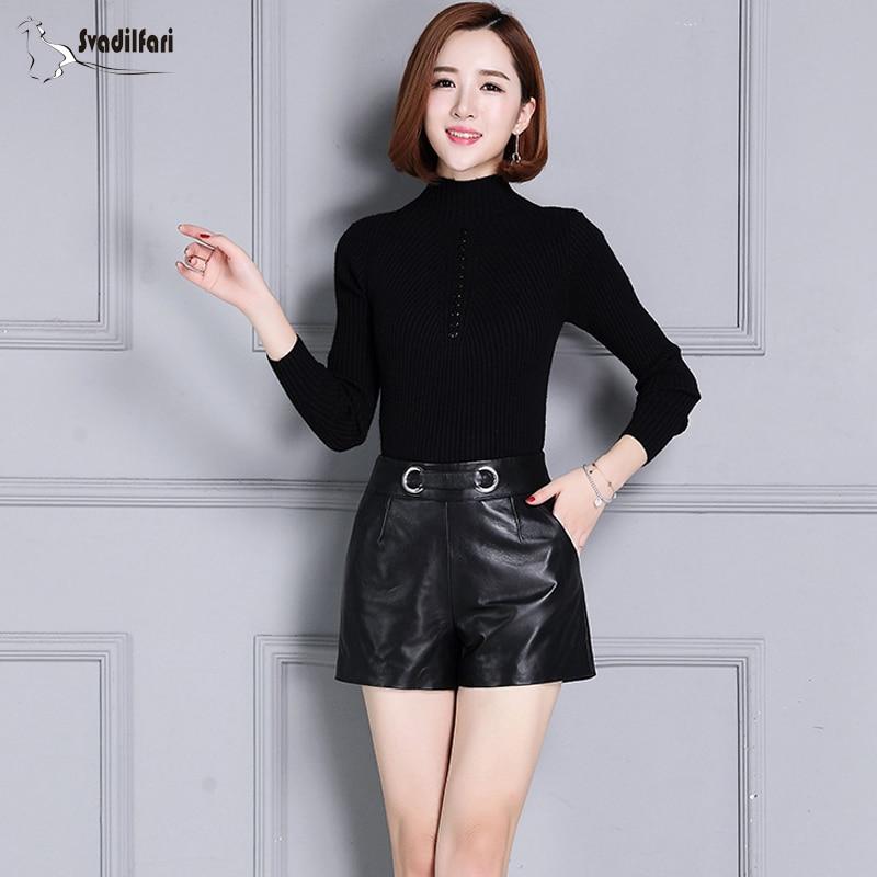Svadilfari Streetwear Shorts Spring Black-Color Female Genuine-Leather Fashion Women