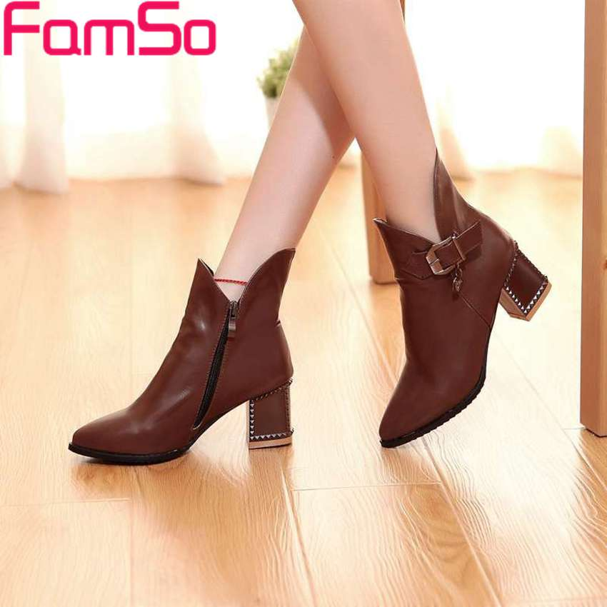 Plus Size34 43 2016 New Arrival High thick Heels Boots Pointed Toe Pumps Buckle Shoes Winter