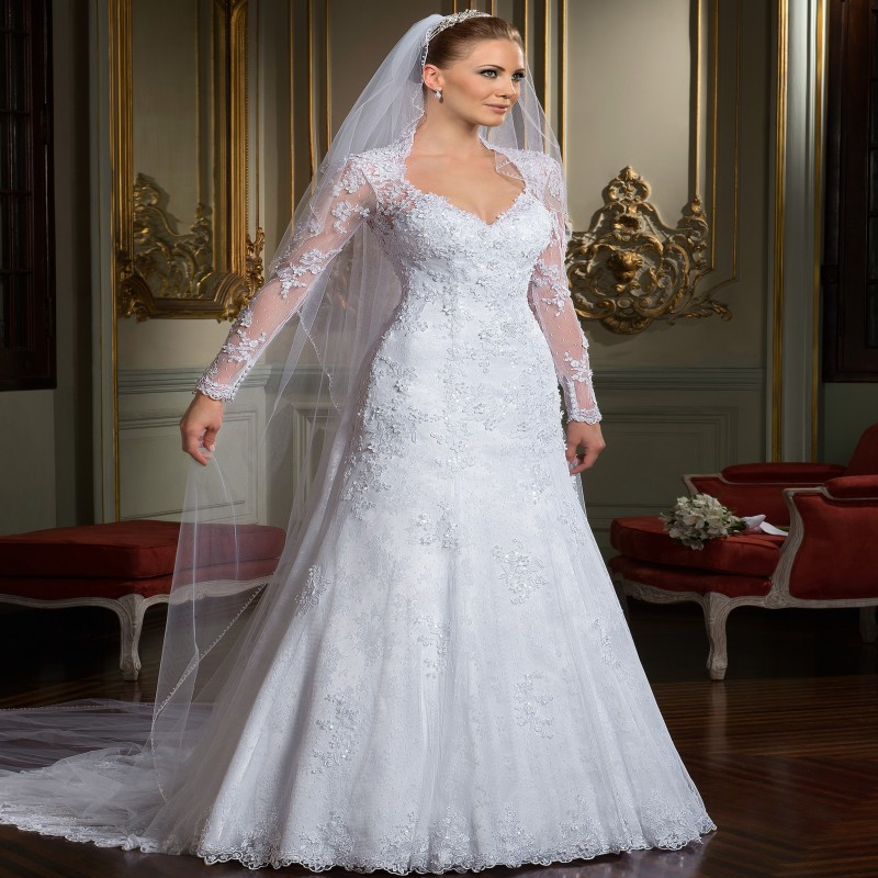 Buy most beautiful a line v neck vestido for Most beautiful long sleeve wedding dresses
