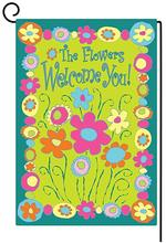 Garden Flag Double-Sided Polyester the flower welcome you Decor Yard 12X18