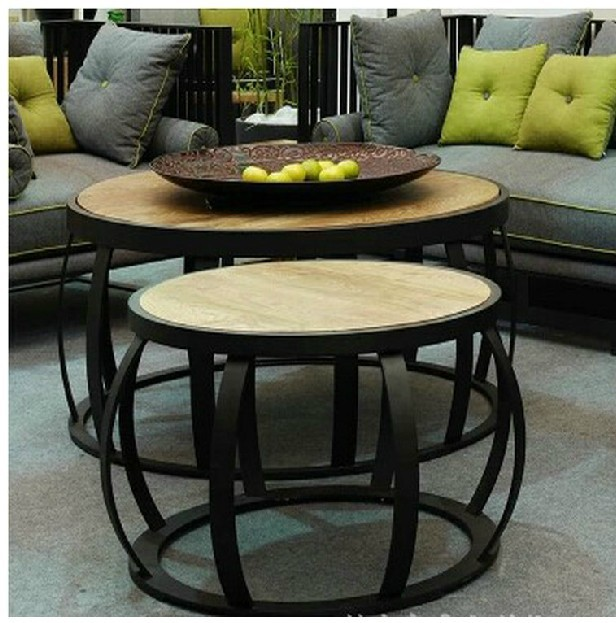 simple small round table, coffee table creative wood retro