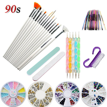 Set for Manicure Nail Art Rhinestones Brush File Polishing Drill Dot Pens Decorations Line Stickers Acrylic