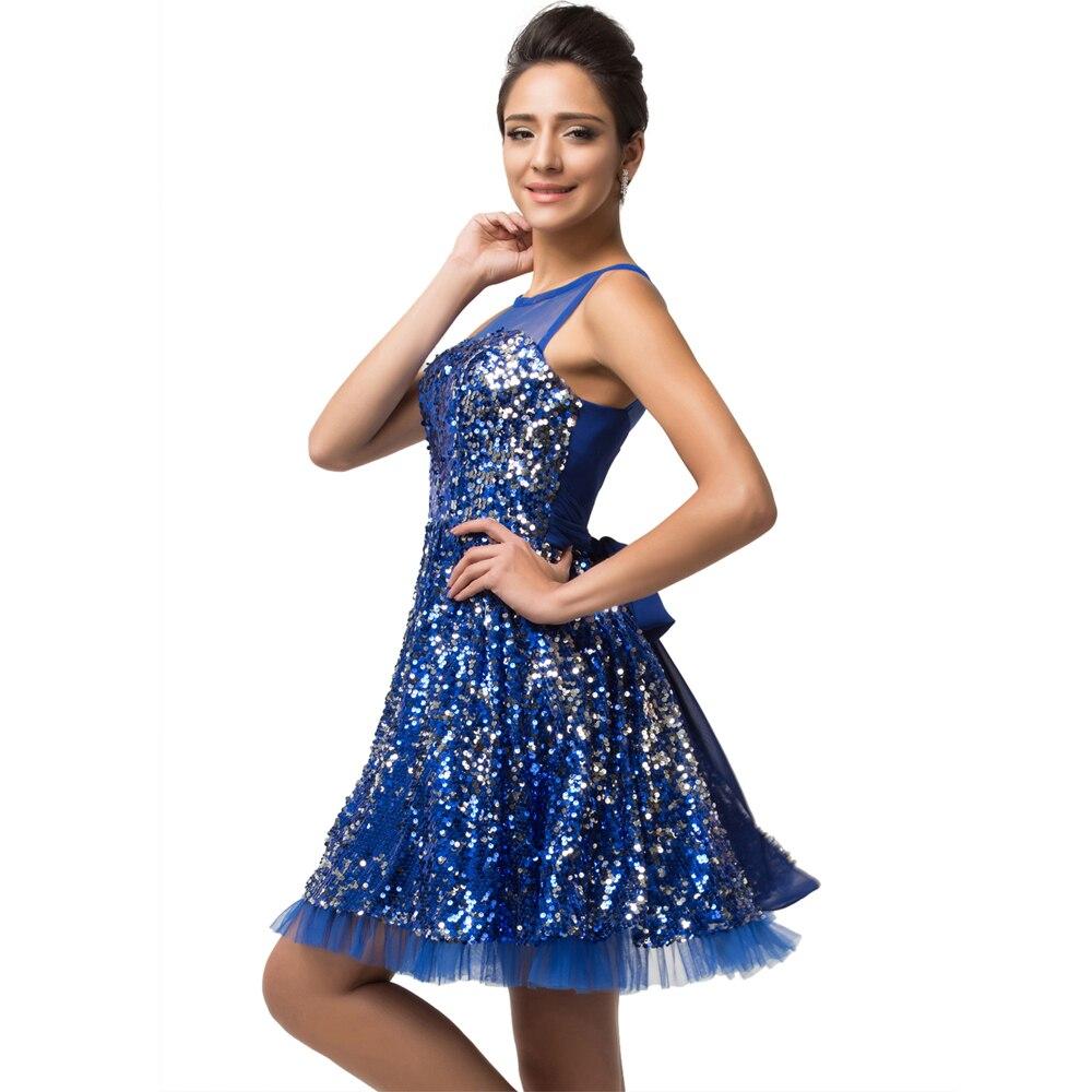 Sleeveless Bling Short Blue Sequins Prom Dress Sparkle Knee Length ...