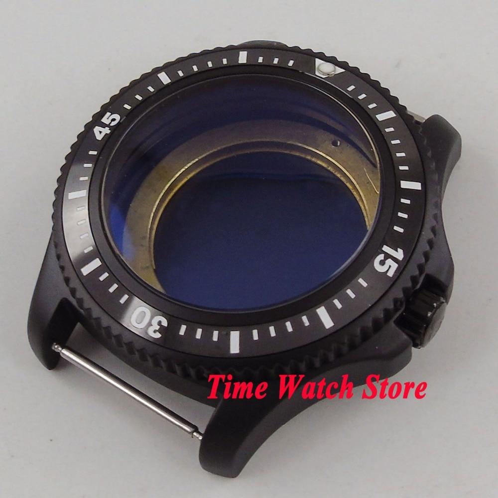 44mm PVD coated black ceramic bezel Watch Case fit ETA 2824 2836 DG2813 3804 MIOTA 8215 8205 821A movement C13 42mm pvd coated case black aluminum alloy bezel watch case fit eta 2824 2836 dg2813 3804 miota 8215 8205 821a movement c18